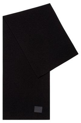 Italian-made ribbed scarf with logo badge, Black