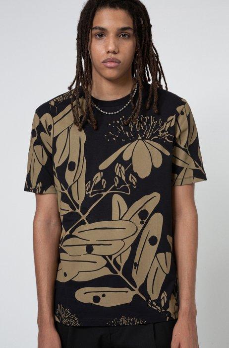 Camiseta de cuello redondo de punto de algodón con estampado de la colección, Negro estampado