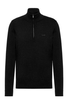 Quarter-zip logo sweater in cotton, Black