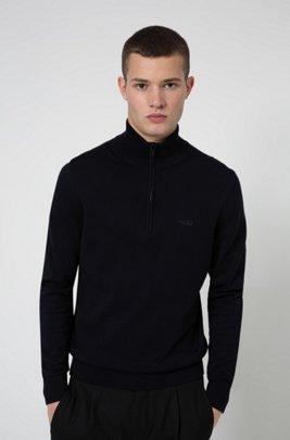 Quarter-zip logo sweater in cotton, Dark Blue