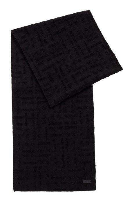 Schal aus Mischgarn mit tonalen Monogrammen, Schwarz