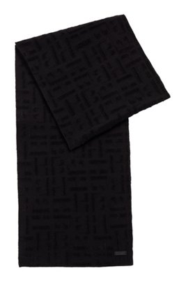 Mixed-yarn scarf with tonal monograms, Black