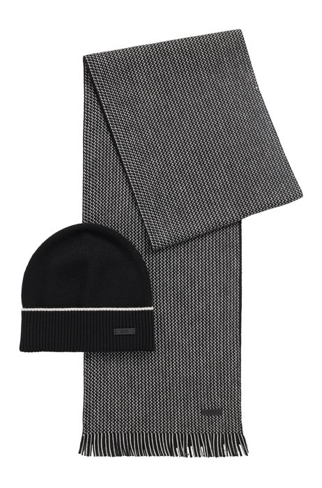 Virgin-wool beanie hat and two-tone scarf set, Black