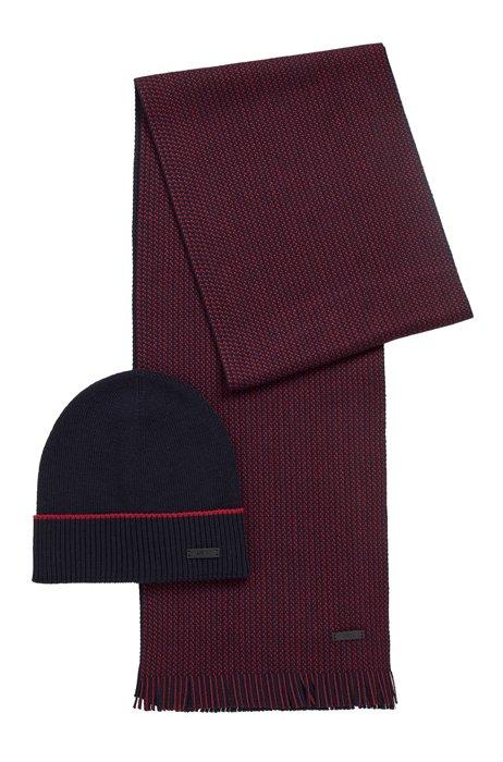 Set mit Mütze und zweifarbigem Schal aus Schurwolle, Dunkelblau