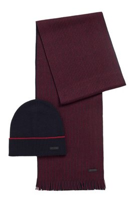 Virgin-wool beanie hat and two-tone scarf set, Dark Blue