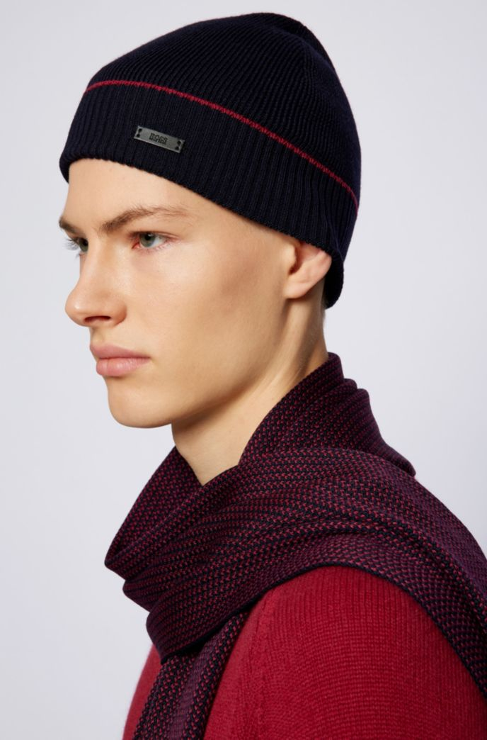 Virgin-wool beanie hat and two-tone scarf set