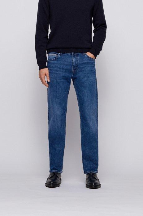 Regular-fit jeans in blue comfort-stretch denim, Dark Blue