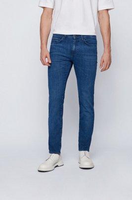 Slim-fit jeans in blue Italian stretch denim, Dark Blue