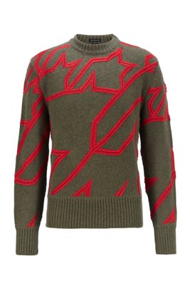 Virgin-wool sweater with embroidered houndstooth, Green