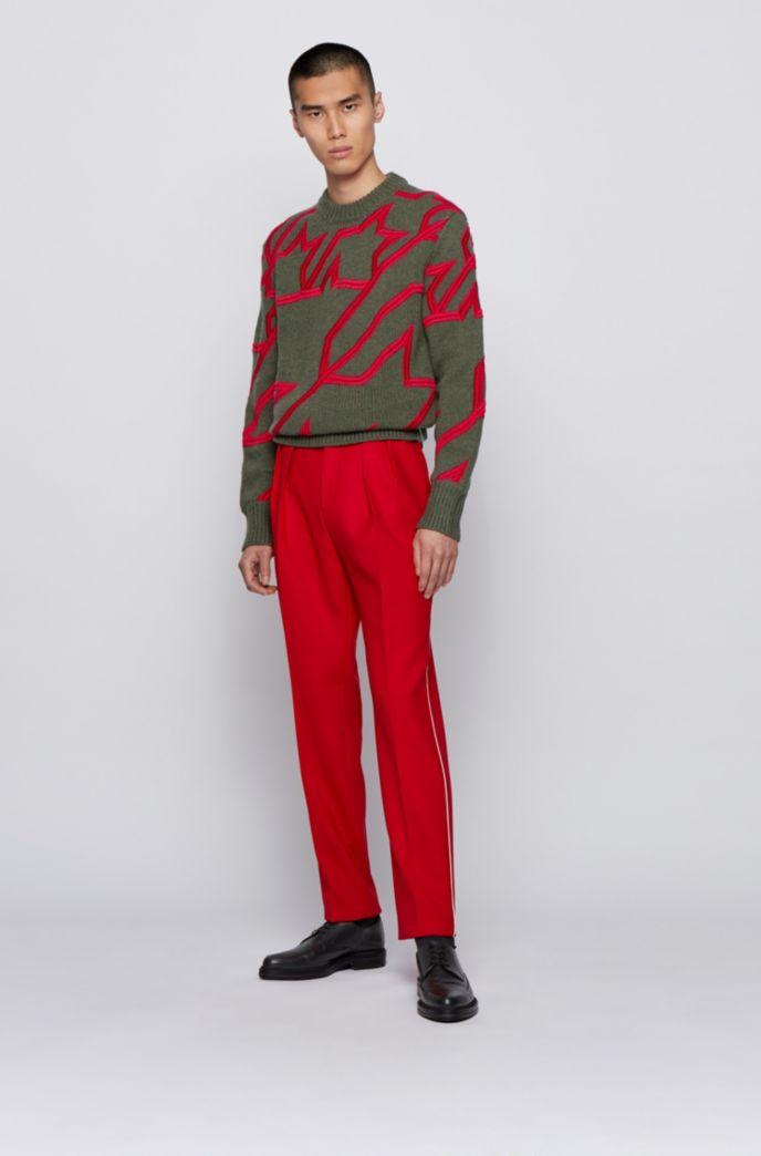 Pullover aus Schurwolle mit Hahnentritt-Stickerei