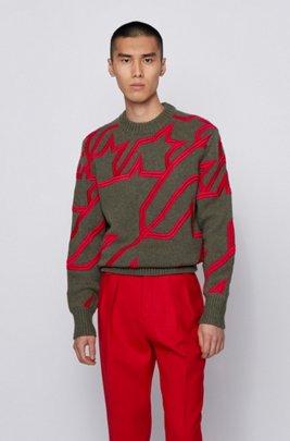 Pullover aus Schurwolle mit Hahnentritt-Stickerei, Grün
