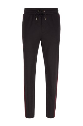 Cotton-blend tracksuit bottoms with red piping, Black