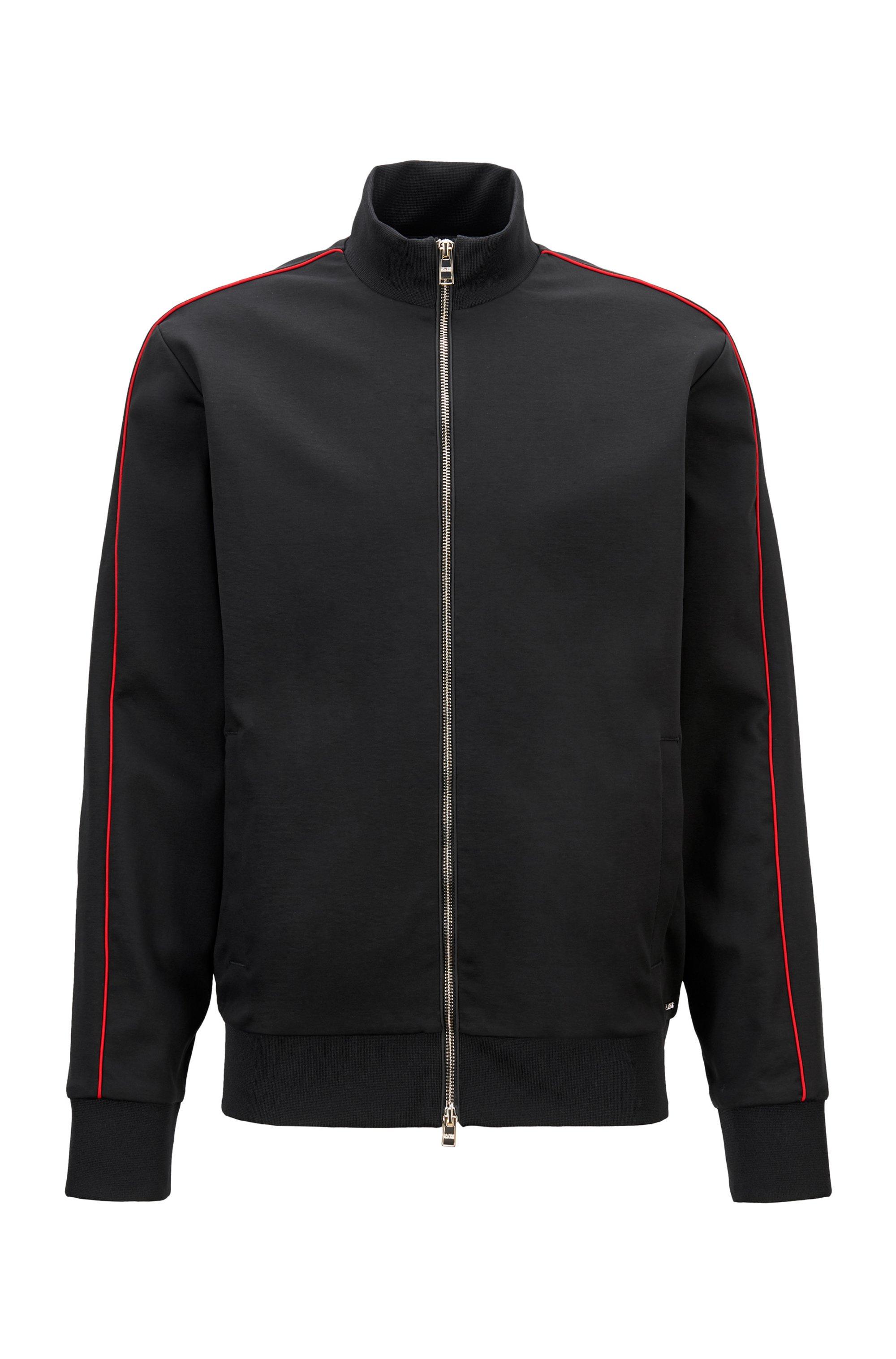 Sweat zippé en coton mélangé avec passepoil rouge, Noir