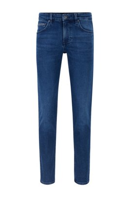 Extra-slim-fit jeans in blue comfort-stretch denim, Dark Blue