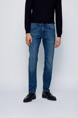 Slim-fit jeans in blue super-stretch denim, Dark Blue