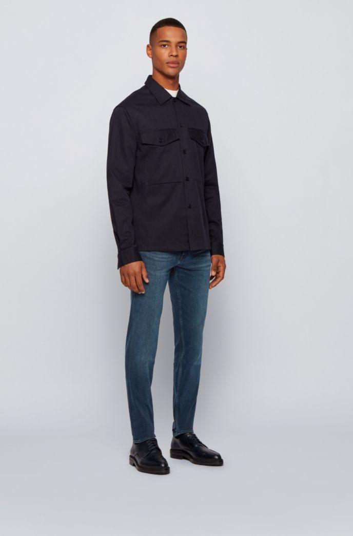 Tapered-fit jeans in super-soft black stretch denim