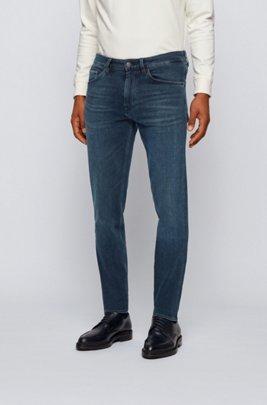 Tapered-fit jeans in super-soft black stretch denim, Dark Grey