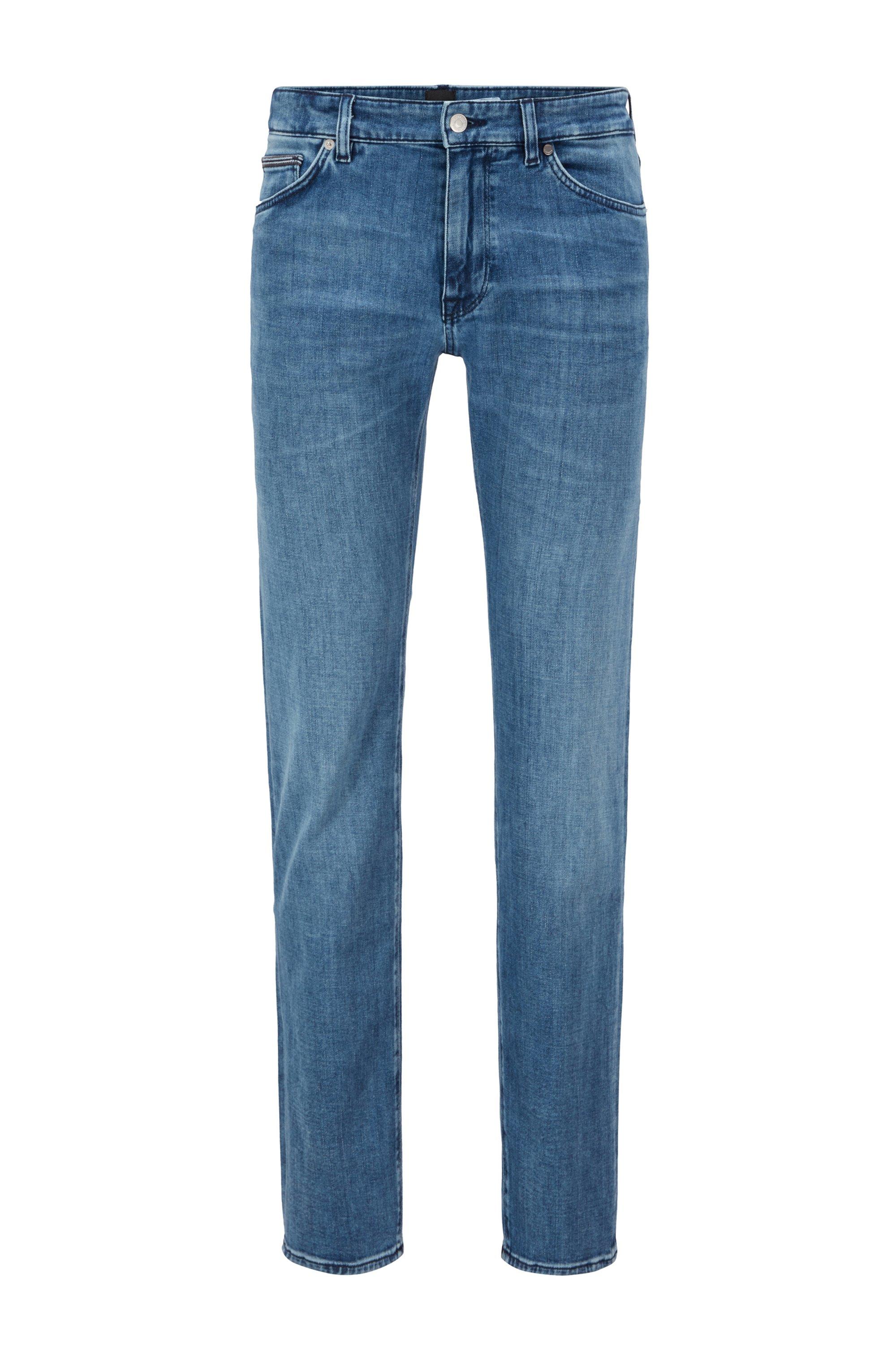 Regular-fit jeans in blue cashmere-touch denim, Blue