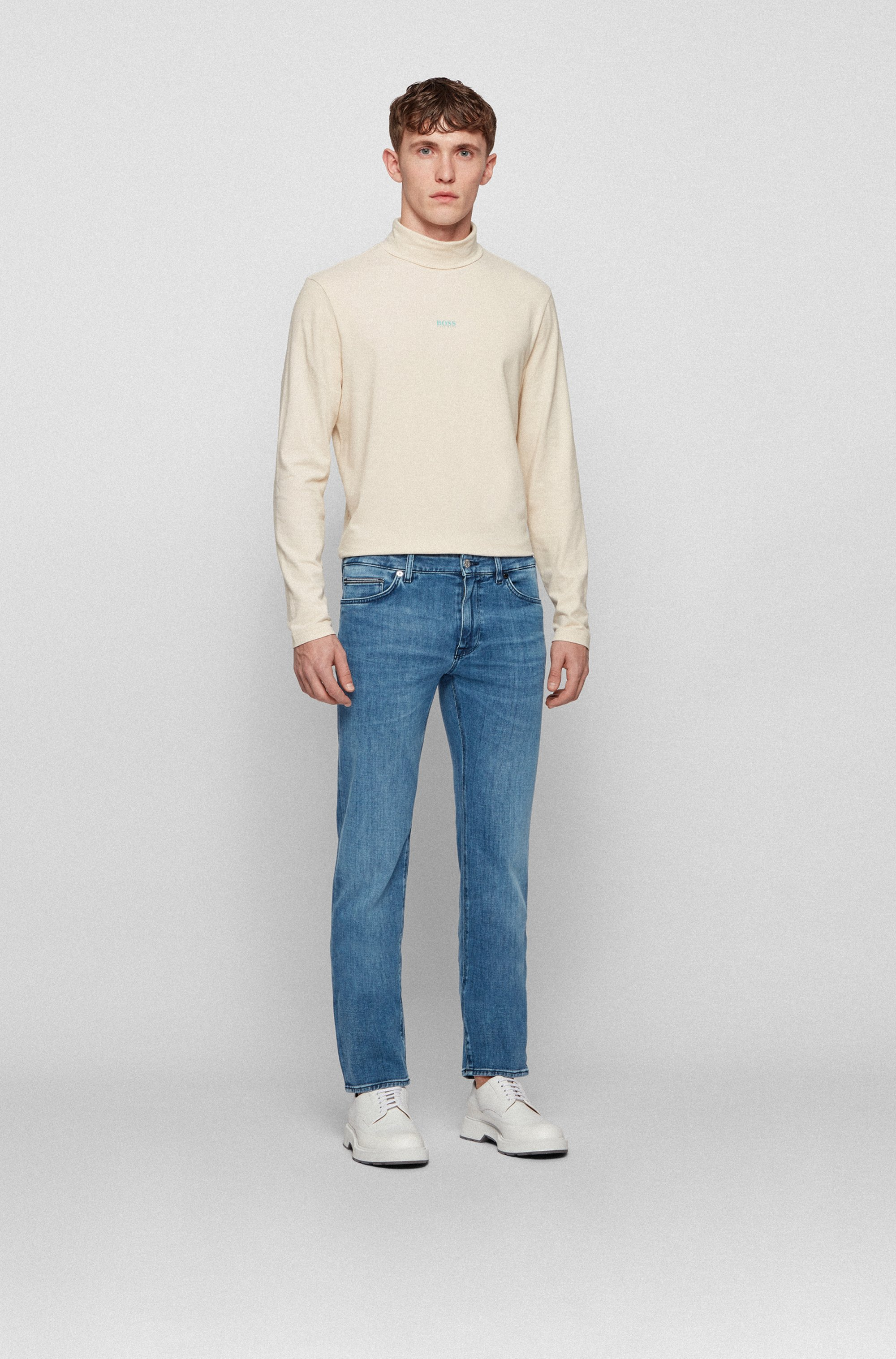 Regular-fit jeans in blue cashmere-touch denim