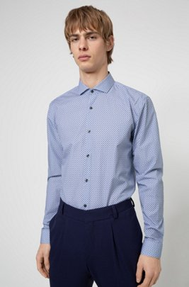 Extra-slim-fit shirt in micro-print cotton canvas, Blue Patterned