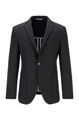 Extra-slim-fit jacket with tonal monogram pattern, Black