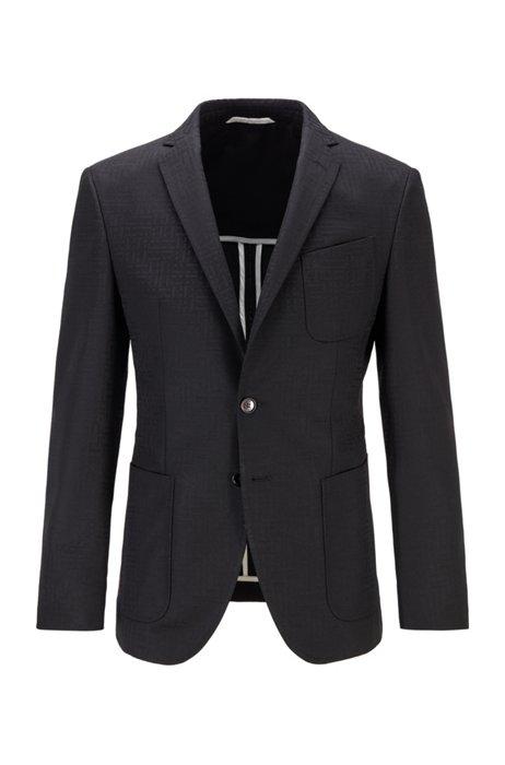 エクストラスリムフィット ジャケット トーナルモノグラムパターン, ブラック
