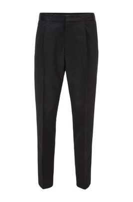 Straight-fit trousers in a monogrammed wool blend, Black
