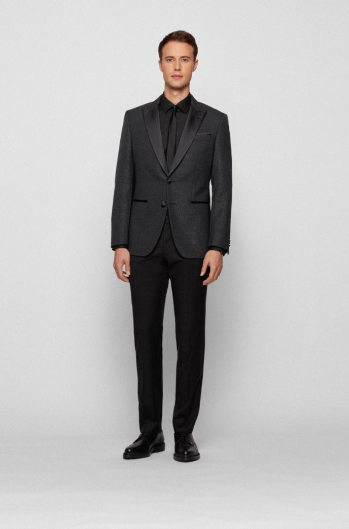 Slim-fit tuxedo jacket in glitter-effect fabric