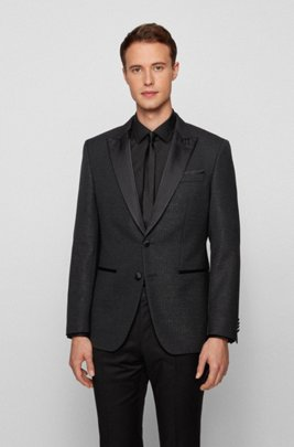 Slim-fit tuxedo jacket in glitter-effect fabric, Black