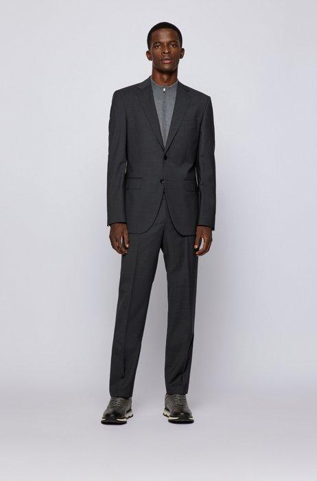 Regular-fit suit in patterned virgin-wool serge, Dark Grey