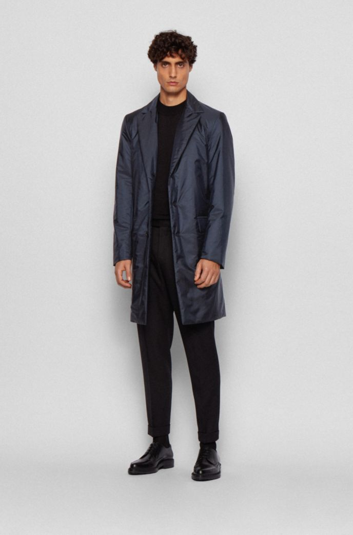 Monogram-motif slim-fit coat with water-repellent finish