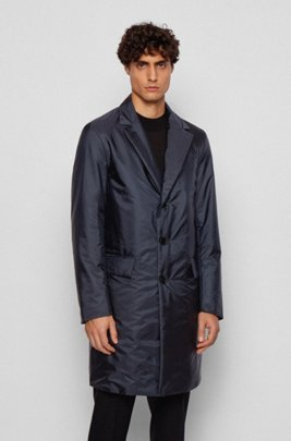Monogram-motif slim-fit coat with water-repellent finish, Dark Blue