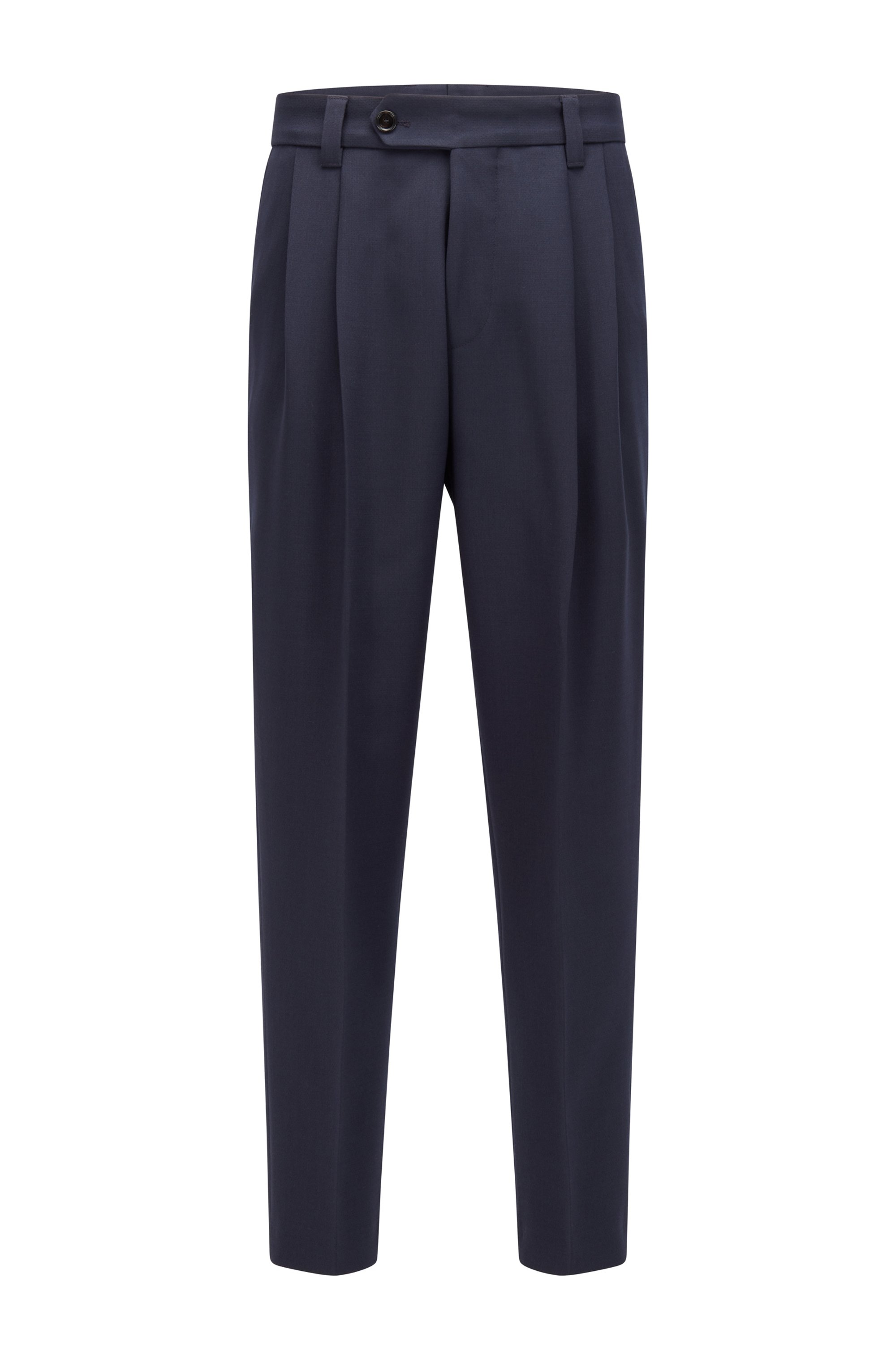 Formal pleat-front trousers in structured fabric, Dark Blue