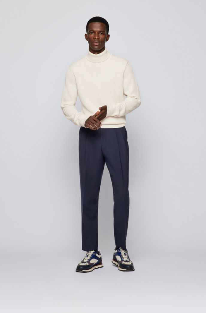 Formal pleat-front trousers in structured fabric