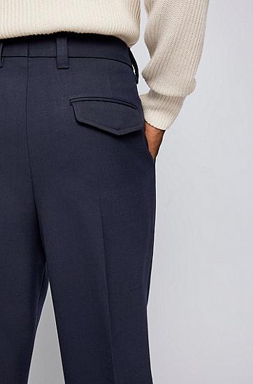 结构纹理面料正面打褶西裤,  402_暗蓝色