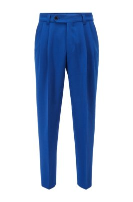 Formal pleat-front trousers in structured fabric, Blue