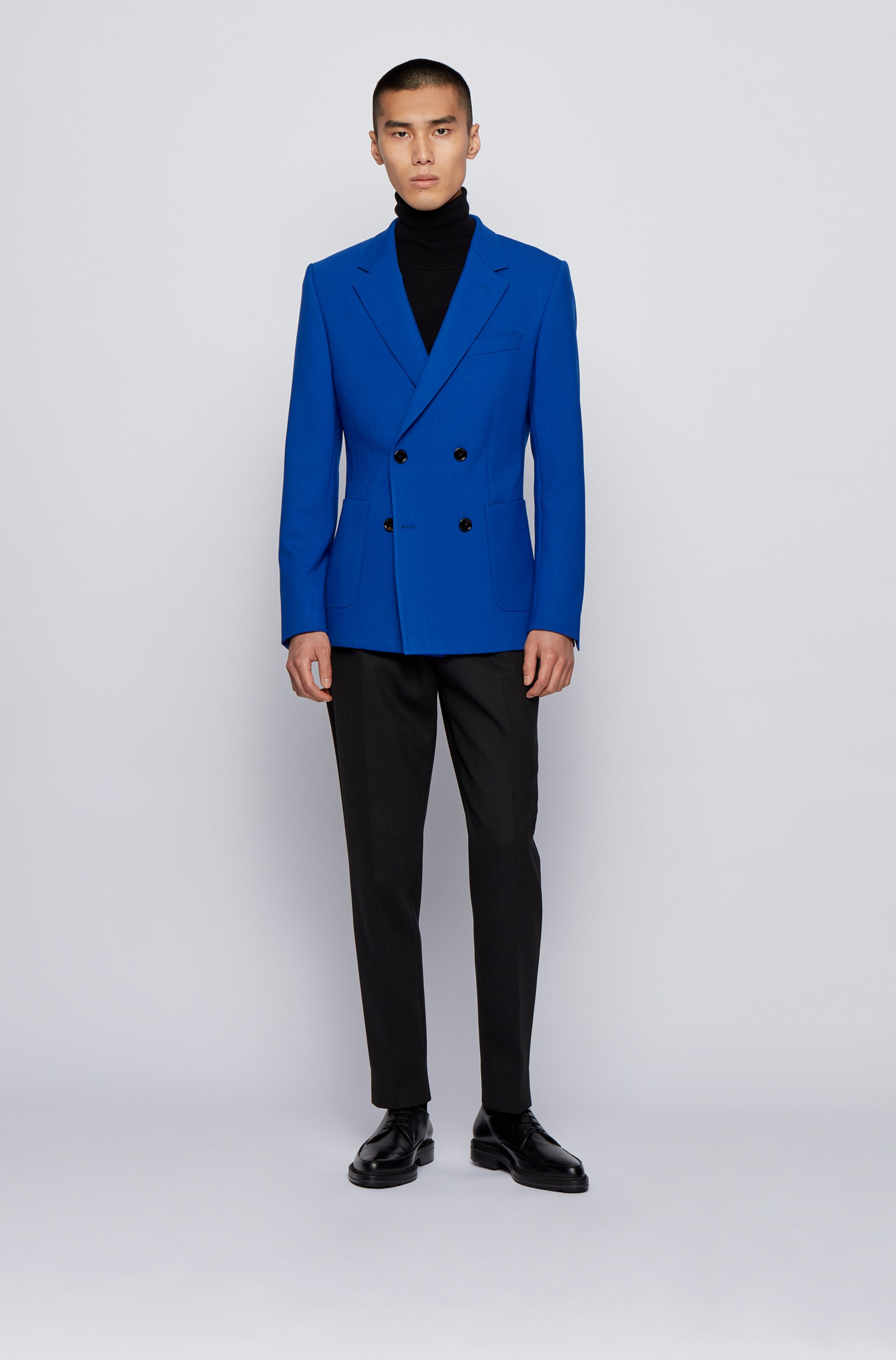 Double-breasted jacket in stretch cloth