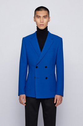 Double-breasted jacket in stretch cloth, Light Blue