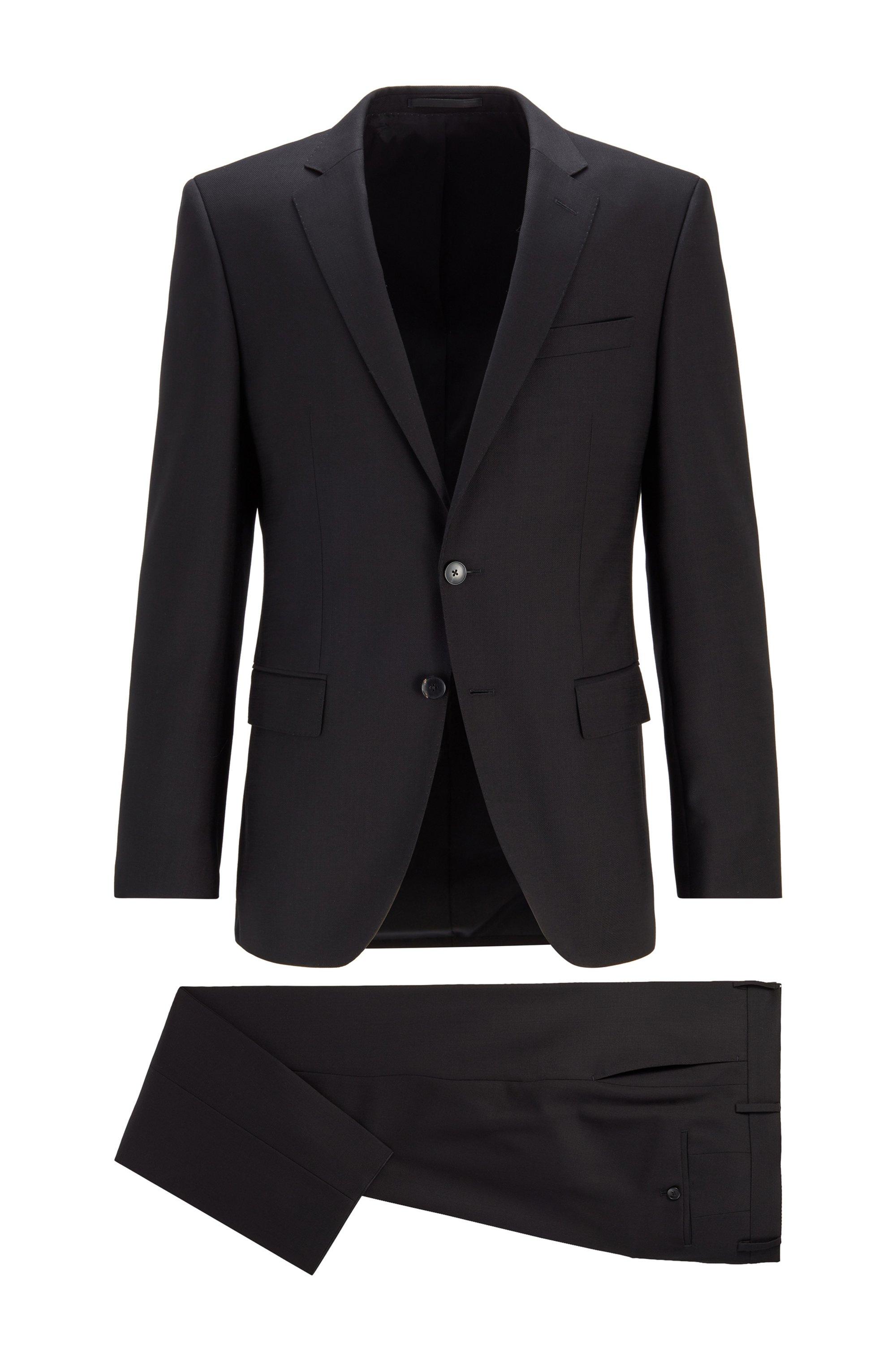 Costume Slim Fit en sergé de laine vierge à micromotif, Noir