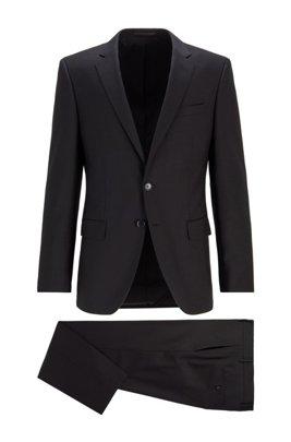 Traje slim fit en sarga de lana virgen con microestampado, Negro