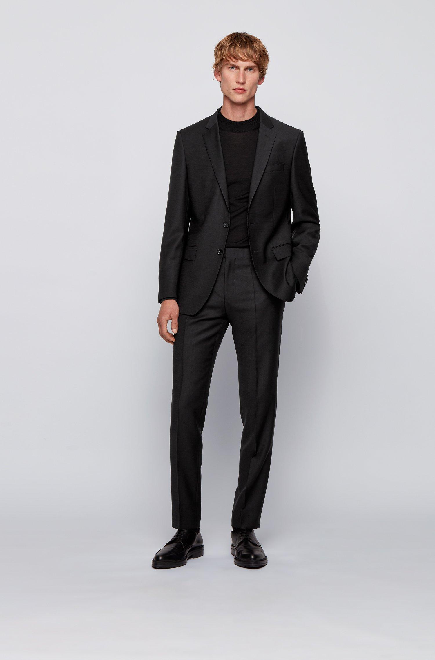 Slim-fit pak in een serge van scheerwol met microdessin, Zwart