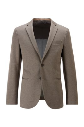 Slim-fit jacket in stretch fabric with micro pattern, Beige