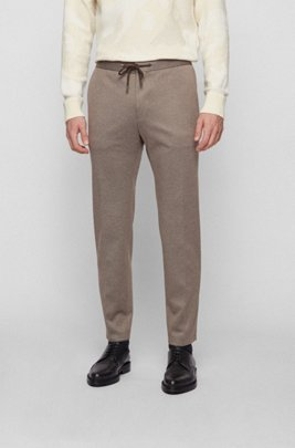 Slim-fit trousers in micro-patterned stretch fabric, Light Beige