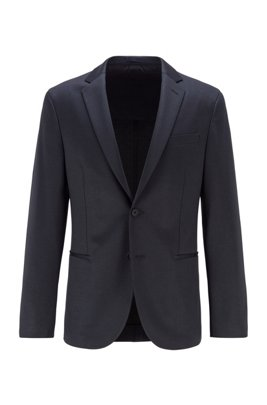 Slim-fit jersey jacket with micro pattern, Dark Blue