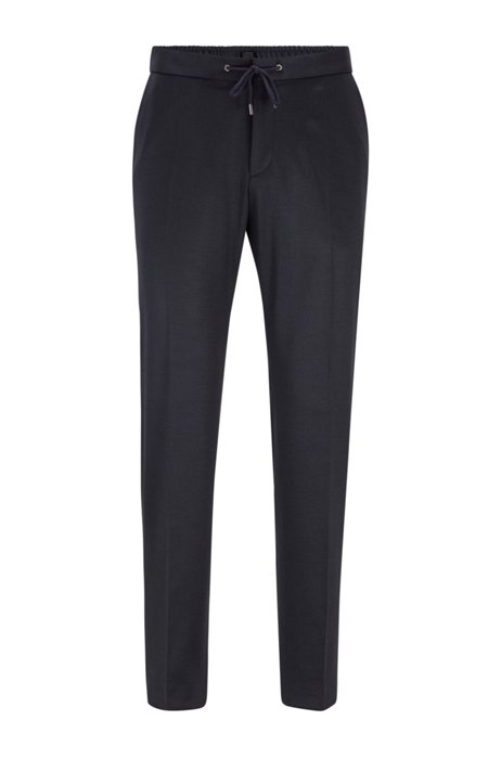 Slim-fit trousers in micro-patterned stretch fabric, Dark Blue