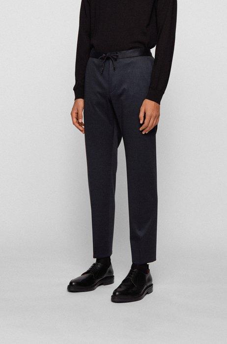 Pantalones slim fit en tejido elástico microestampado, Azul oscuro