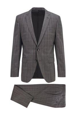Karierter Slim-Fit Anzug aus Schurwolle, Grau