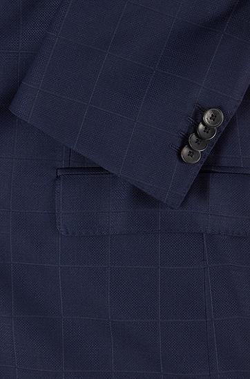 纯色方格初剪羊毛修身西装,  402_暗蓝色