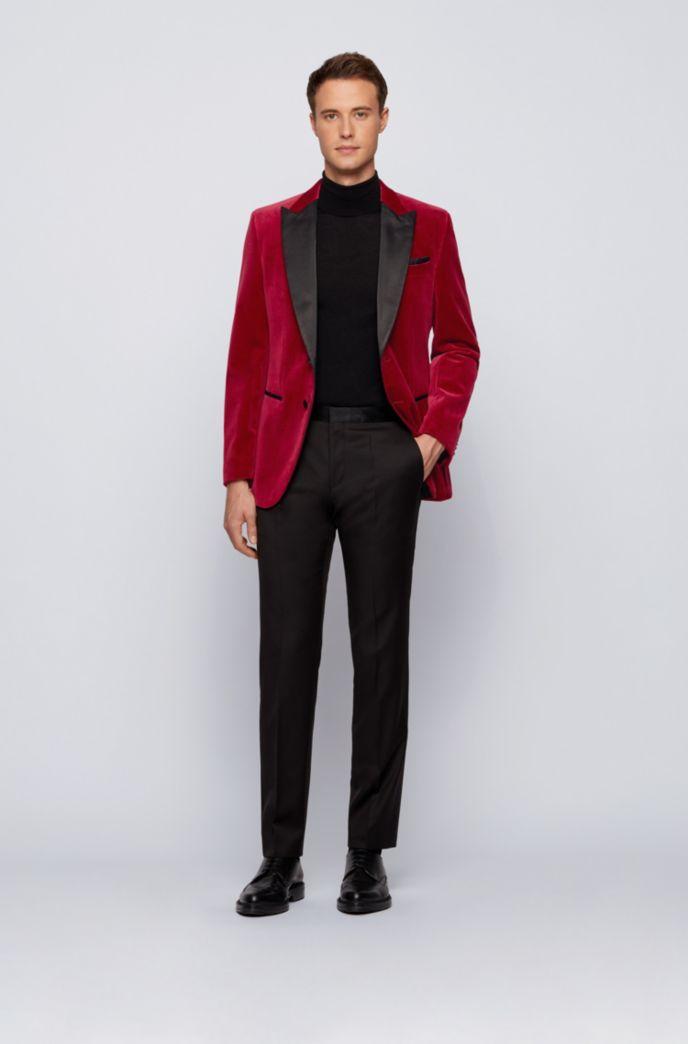 Slim-fit tuxedo jacket in velvet with silk trims