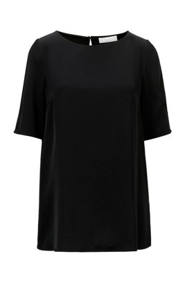 Regular-fit top in satin fabric with shoulder slits, Black